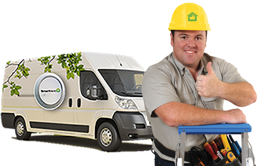 Image of a SmartVent tech in front of his van